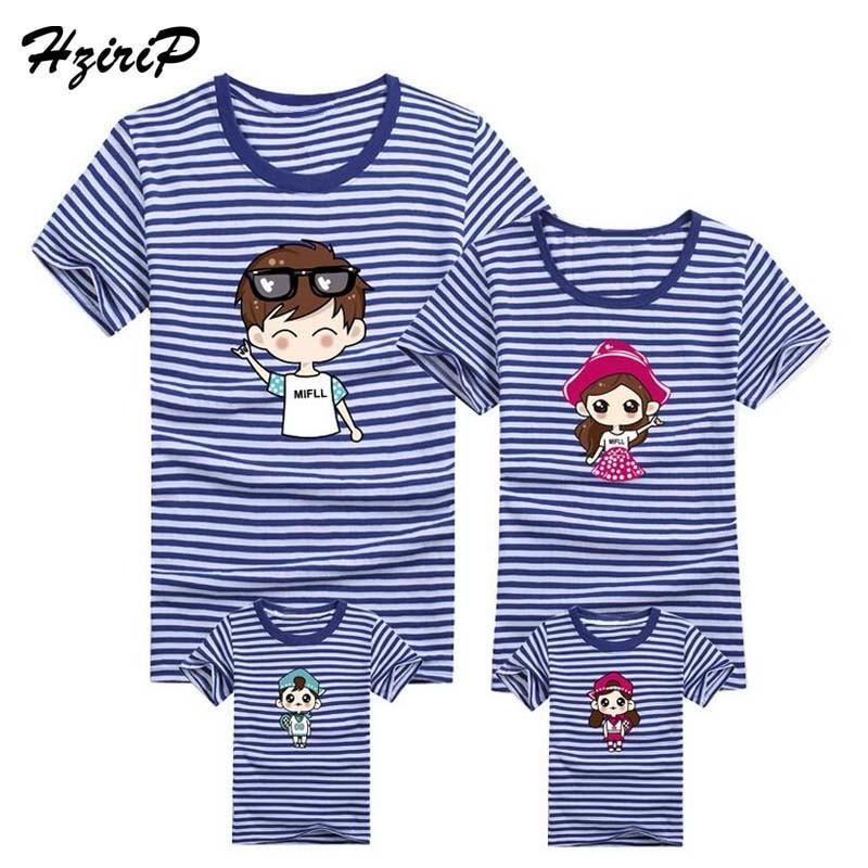 HziriP 2017 Fashion Stripe T-shirt de manga corta Trajes a juego de - Ropa de ninos