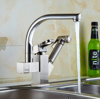 Copper Drawing Type Kitchen Faucet And Sink Basin Basin Stretching Vegetable Washing Basin Universal Sink Faucet