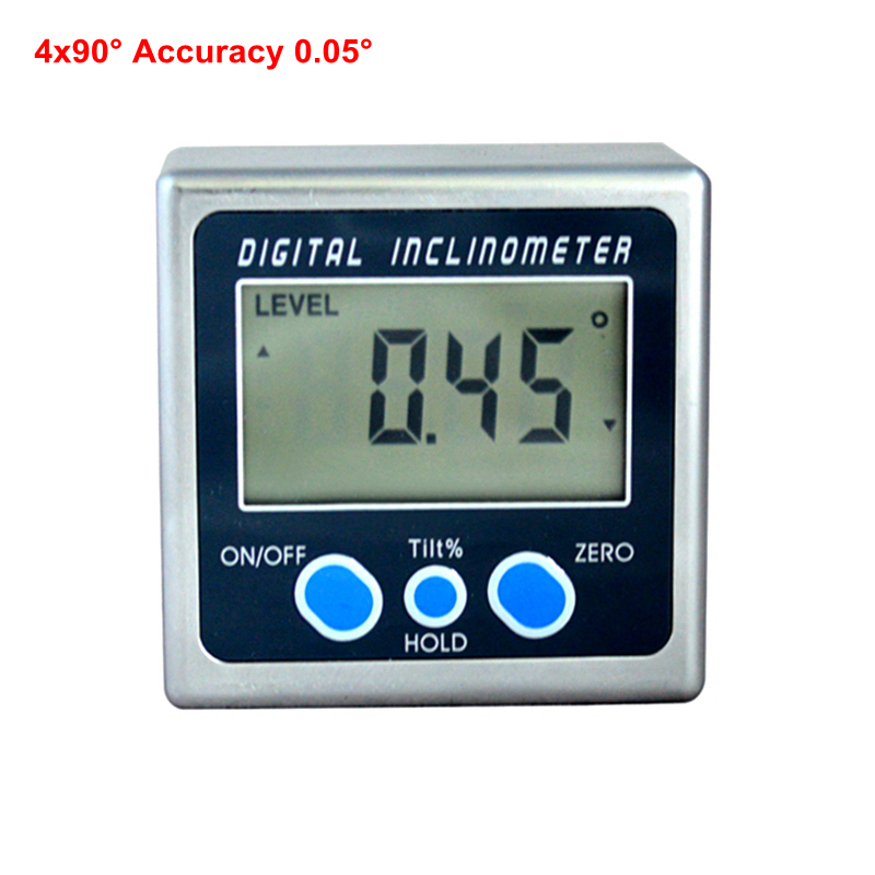 Electronic Angle Level Gauge Digital Measuring Instrument 4X90 360 Degree Inclinometer Protractor LCD Angles Goniometer Mini lixf dxl360s digital lcd protractor inclinometer single dual axis level box 0 01 degree