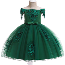 2021 Summer Dress Girl Shoulderless Princess Dress Kids Dresses For Girls Children Clothing