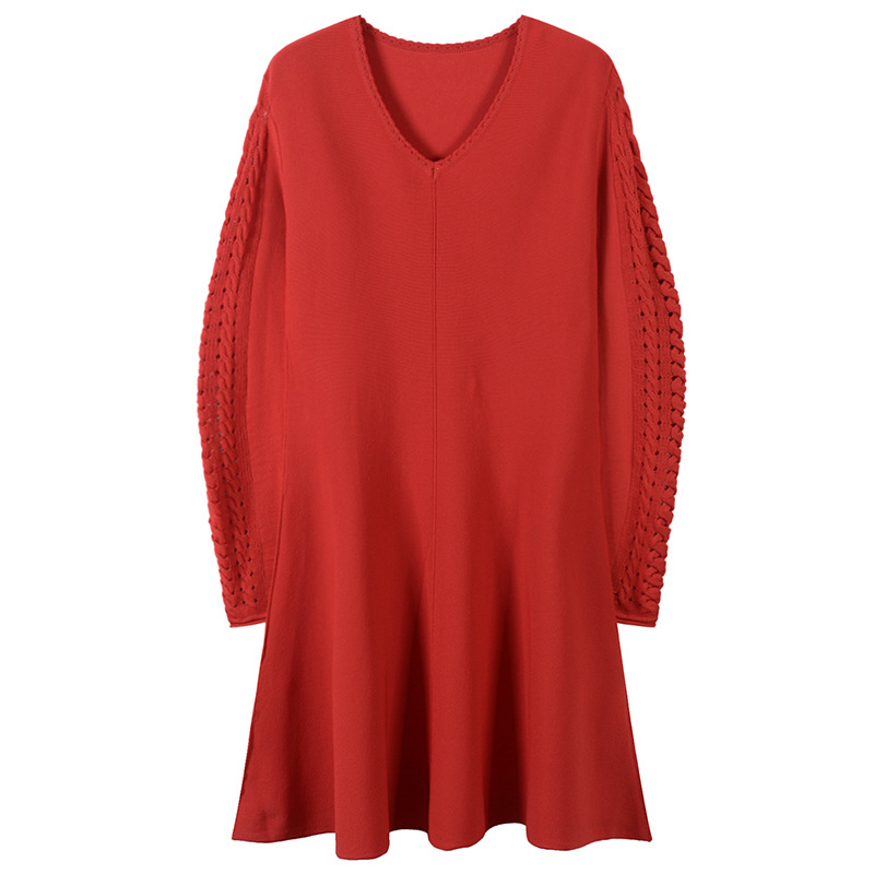 Montrant Slim Tricoté Creusant Bras Printemps Noir Nouveau Et rouge Édition Plein D'été Manches Minces Robes 2019 De Robe Coréen gpw0qPC