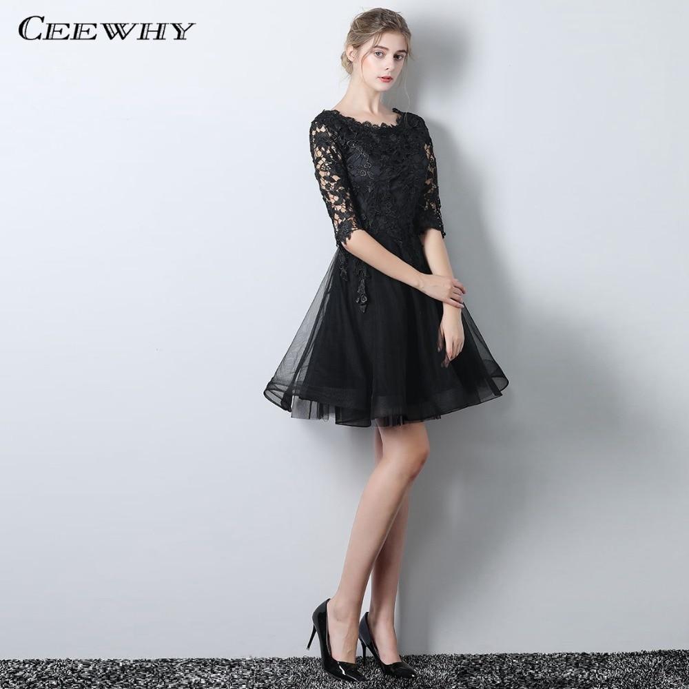 Ceewhy O Ansatz Halbe Hülse Kleine Schwarze Kleid Illusion Rüschen A-linie Kurze Prom Kleid Hochzeit Party Kleid Spitze Cocktail Kleider Hindernis Entfernen