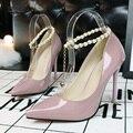 Koovan mulheres bombas 2017 new elegante moda sapatos alto-boca rasa apontou sapatos de salto alto pérola diamante senhoras único sapato