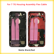 New Back Middle Frame Chassis Full Housing Assembly Battery Cover with Flex Cable For iphone 7 7G and 7 Plus Repair Parts