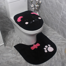 цена на Cute Kitty Cat Warm toilet ring Warm Toilet seat cover Soft toilet lid cover Toilet seat cushion Non-slip carpet Bathroom mat