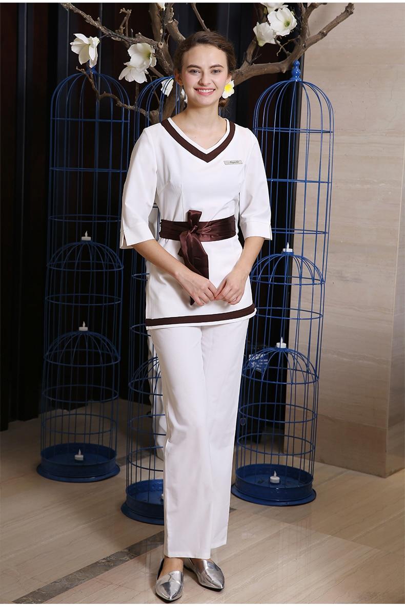 New Design Customize Uniform SPA Beauty Salon Work Clothing Health Club Workwear 2PCS Nurse White Uniforms Free Shipping