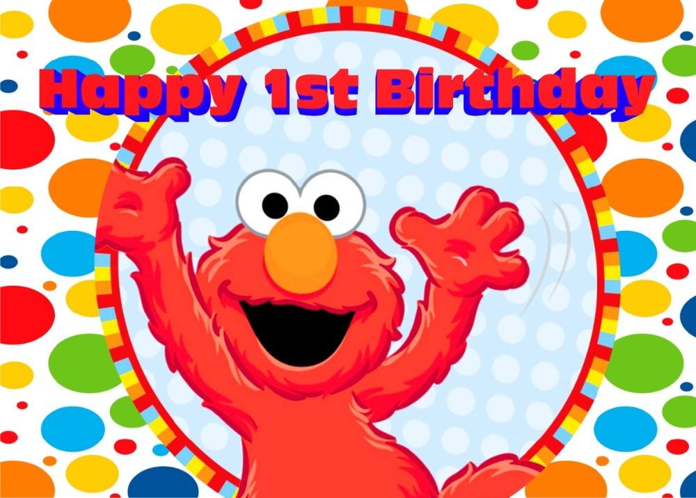 7x5ft sesame red elmo mirro happy birthday pattern custom photo studio backdrop background vinyl