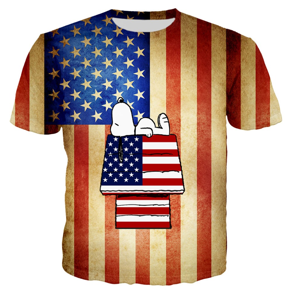 2019 New 3d Printed Dog With US flag T shirt for Men/Women Summer Short Sleeve Tees Tees Tops Unisex Streetwear Tshirt