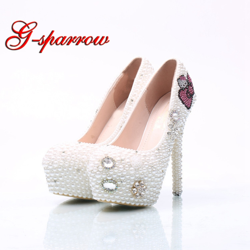 Large Size Hello Kitty Rhinestone Wedding Shoes Bridal Pumps Handmade White  Pearl Women High Heels Party Prom Shoes Middle Heel 9eb72b9a8cae
