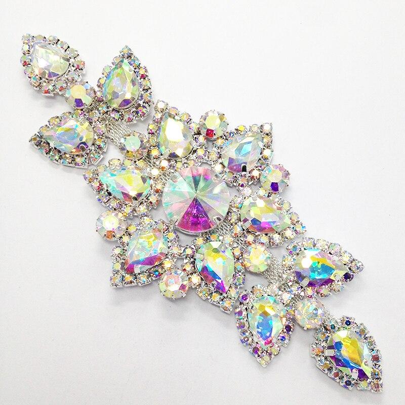Crystal AB Sewing On Rhinestone Applique Patch Silver Base DIY Wedding Dress Decorerative
