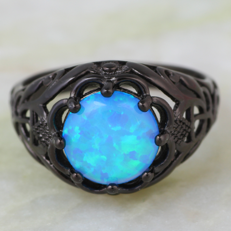 Fine jewelry Fashion rings for women Round Blue Opal ring Black Gun ring Party jewelry size 5 6 7 8 9 R555