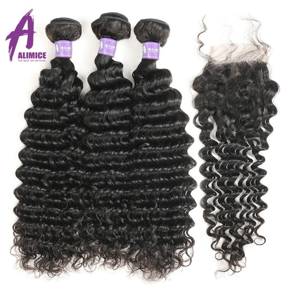 Alimice Hair Brazilian Deep Wave Bundles With Closure 100 Human Hair Weaves 3 Bundles Deal With