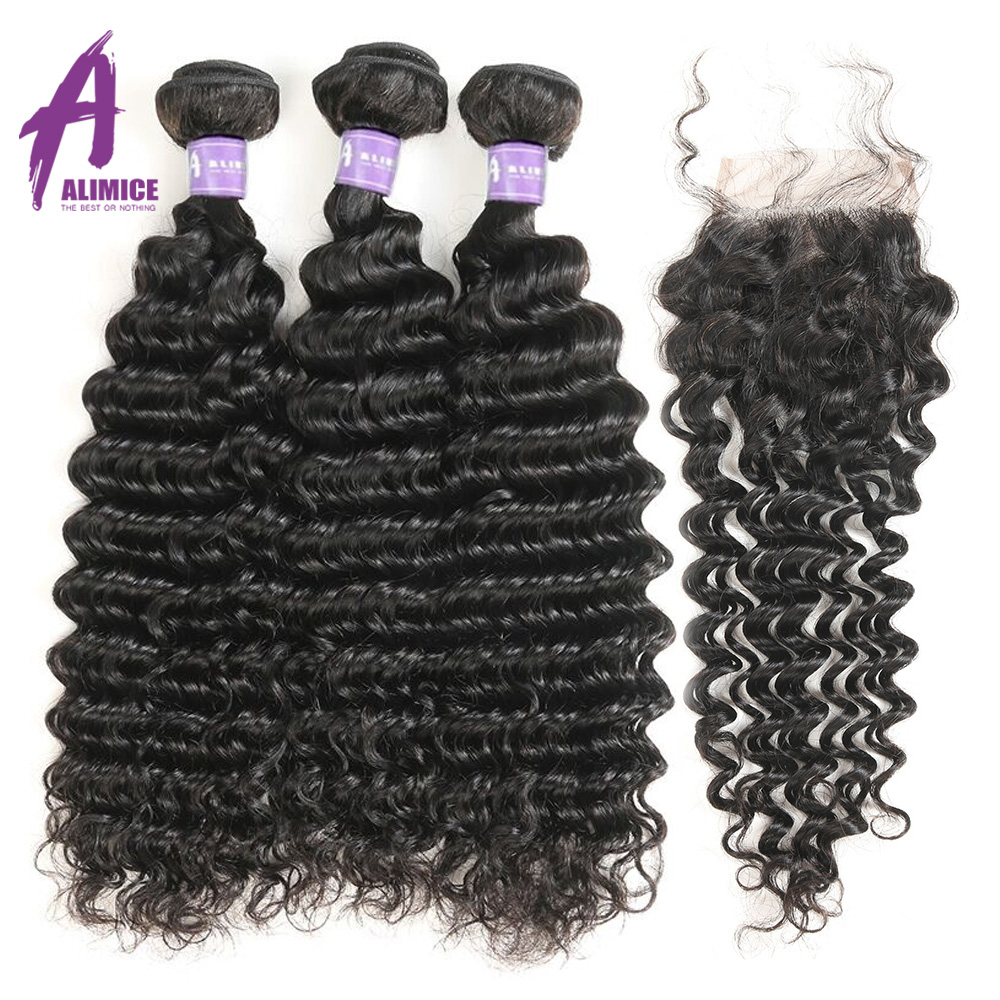 Brazilian Deep Wave Hair Weave 100% Human Hair Bundles With Closure - Mänskligt hår (svart)