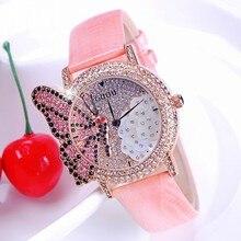 Moda de Lujo de Cuero Genuino Redondo de Cristal Llena de Diamantes Mariposa Bling Del Vestido de Reloj de Cuarzo Muchacha de Las Mujeres Casual de Las Señoras Reloj de Pulsera