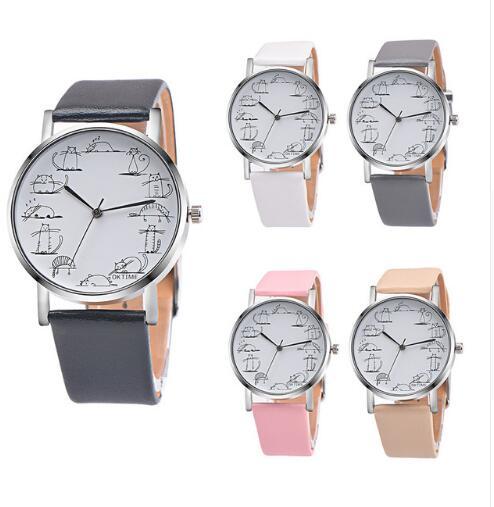 Simple Fashion Clock Funny Cat Crystal Imitation Leather Quartz Wristwatch Creative Lovely Animal Bracelet Simple Casual Clock
