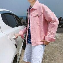Top Quality Ripped Jeans Jacket Men Retro Washing Frayed Classic Denim Jacket Lapel Distressed Denim Coat Male Fashion Pink