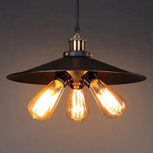 Village Retro Pendant Light Iron Metal Spray Painting Restaurant Bar Coffee Shop Floor E27 Holder One To Three Head Edison Lamp