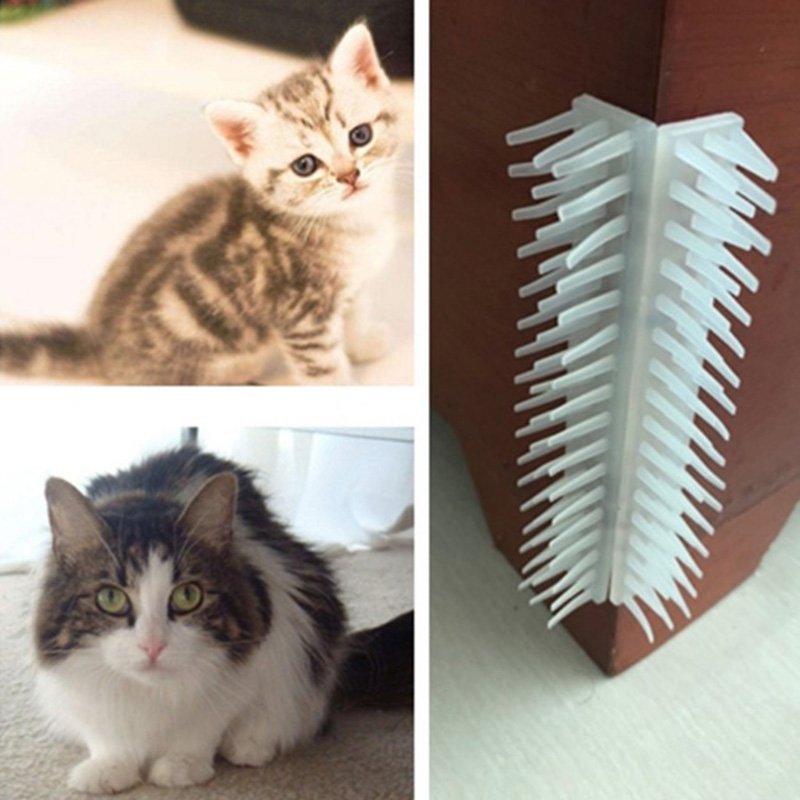Pet Cat Groomer Tool Wall <font><b>Table</b></font> Corner Scratching Massage Comb Hair Removal Brush for <font><b>Dogs</b></font> Cats Hair Shedding Trimming Tools image