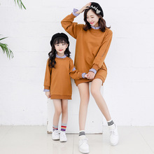 Mommy And Daughter Family Matching Clothing Mother Dresses False 2pcs Outfits Shirt Dress Kids Clothes