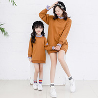 Mommy And Daughter Family Matching Clothing Mother Daughter Dresses False 2pcs Family Matching Outfits Shirt Dress Kids Clothes