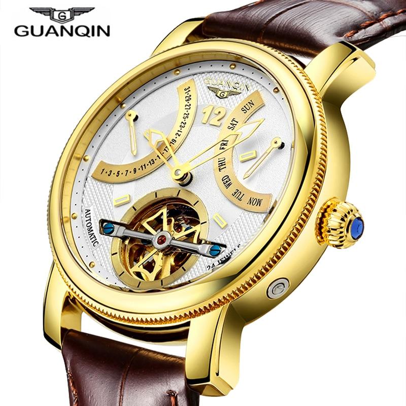 GUANQIN Conception Montres Hommes Top Marque De Luxe Montre De Mode Casual Automatique Montre mécanique Horloges Reloj Relogio masculino