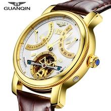 Classic watch GUANQIN 6 Hands Date week Display Full Steel case Genuine leather strap Business Dress quartz Men's sport Watches стоимость