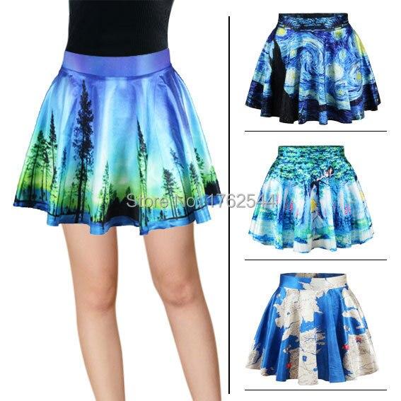 Free Ship 2015 3d Ladies Pleated Skirts Women Galaxy World Map Alice