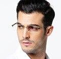 Pure titanium + acetato marcos de los vidrios masculinos media ultra-ligero marcos de anteojos ópticos hombres de negocios gafas de prescripción tg8001