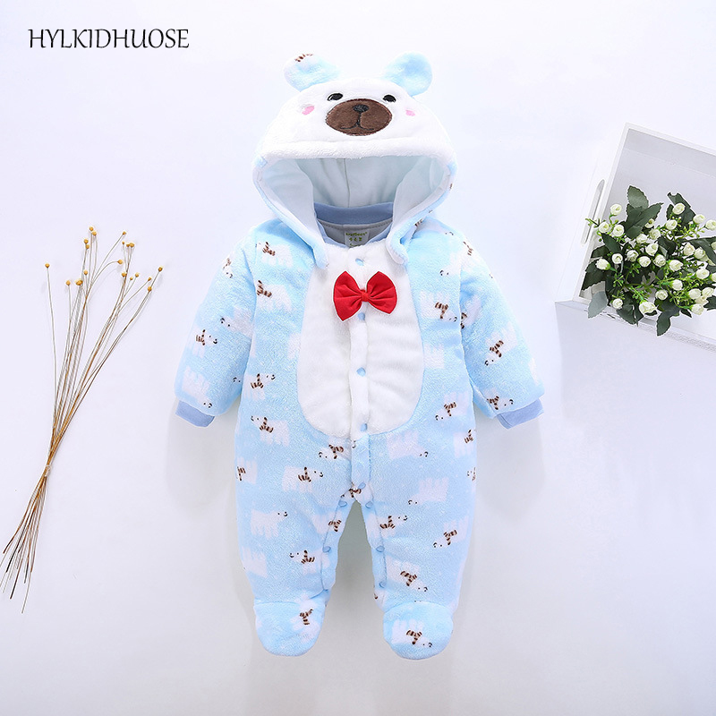 HYLKIDHUOSE 2017 Winter Baby Girls Boys Rompers Cartoon Hooded Infant Newborn Rompers Warm Soft Flannel Children Kids Jumpsuits cotton baby rompers set newborn clothes baby clothing boys girls cartoon jumpsuits long sleeve overalls coveralls autumn winter