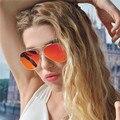 Новые Марка Дизайн Авиации Солнцезащитные Очки Женщин Телевизор С Twin-Балки Старинные Зеркало Солнцезащитные Очки Мужчины Стильные Дамы Женский Очки 2016