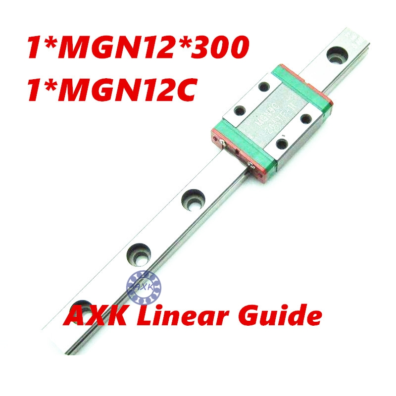 CNC part MR12 12mm linear rail guide MGN12 length 300mm with mini MGN12C linear block carriage miniature linear motion guide way axk mr12 miniature linear guide mgn12 long 400mm with a mgn12h length block for cnc parts free shipping
