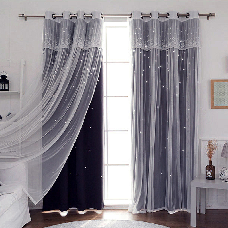 Sunnyrain 1 piece double layer hollow out stars curtain - Childrens bedroom blackout curtains ...