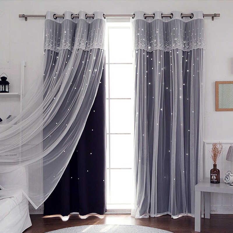 Sunnyrain 1 Piece Double Layer Hollow Out Stars Curtain For