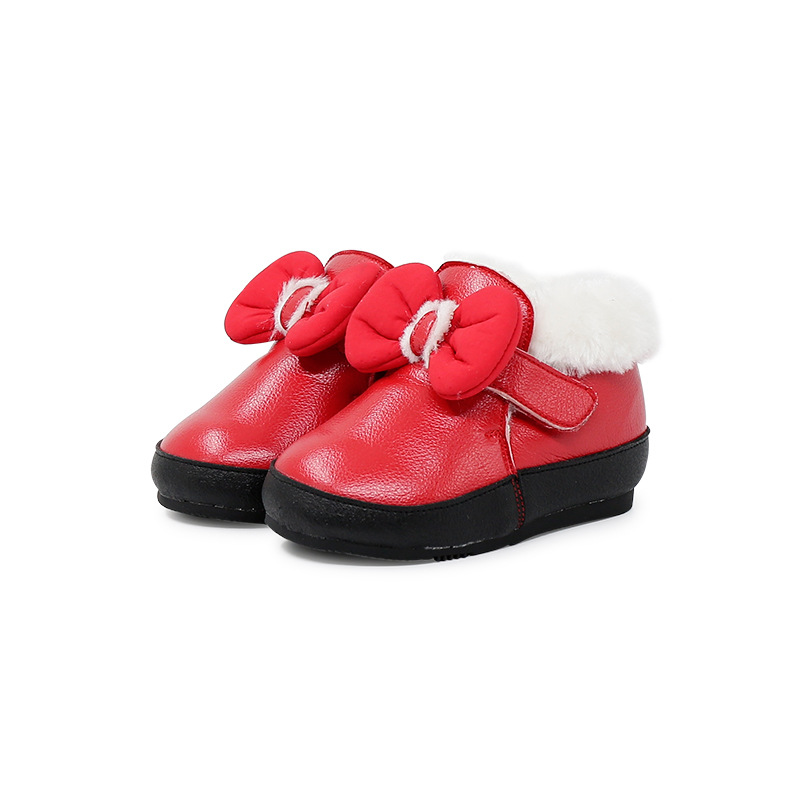 Girls Baby Cotton Shoes Bowtie Thickening Toddler Shoes Winter Soft Bottom Shoes Red Baby Winter Boots Cotton