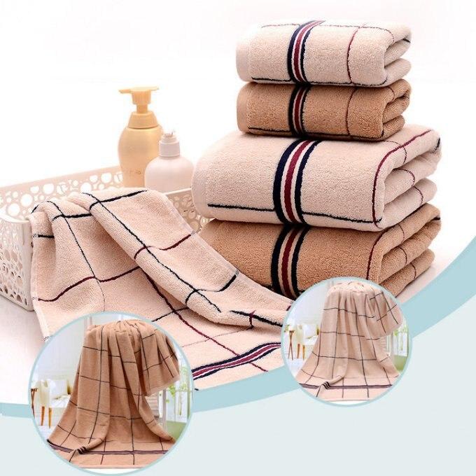 jzgh plaid 3pcs decorative cotton bath towel sets for adultsplain hand bath bathroom towels