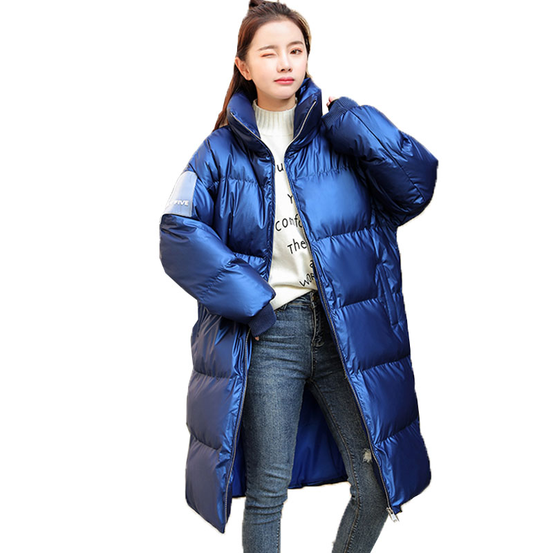 Winter womens jacket thicken warm down cotton coat fashion letter pattern long sleeve slim overcoat casual