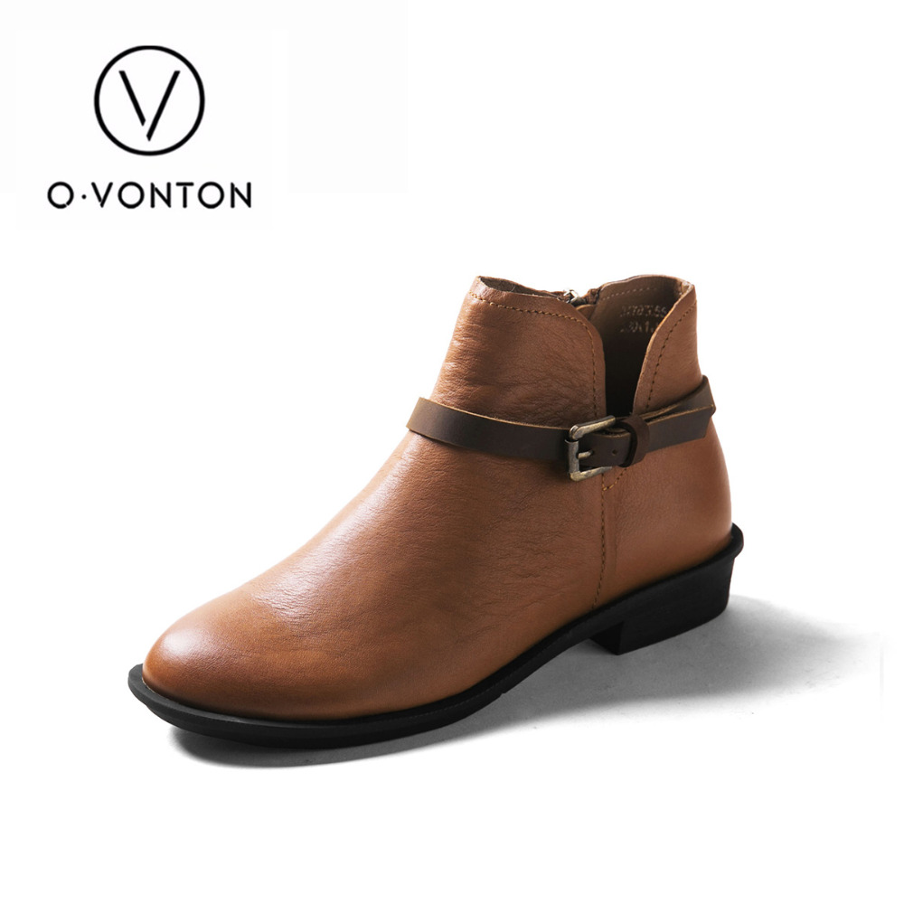 Q.vonton Women Boots Genuine Leather Ankle Shoes With Slip-on Fashion Female Handmade Martin Boots Retro Round Toe Flats front lace up casual ankle boots autumn vintage brown new booties flat genuine leather suede shoes round toe fall female fashion