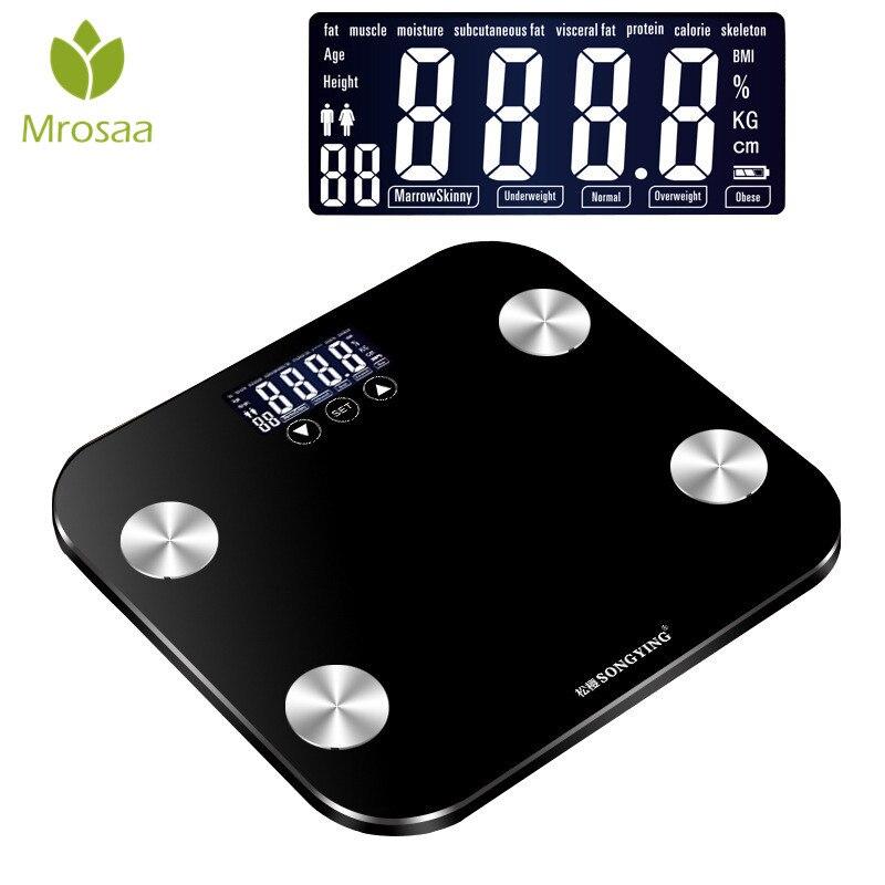 180 KG/50G Vetro Domestico Pavimento Smart Elettronico Digitale Scala di Grasso Corporeo Peso Balance Bariatrica Display LCD Bagno bilance