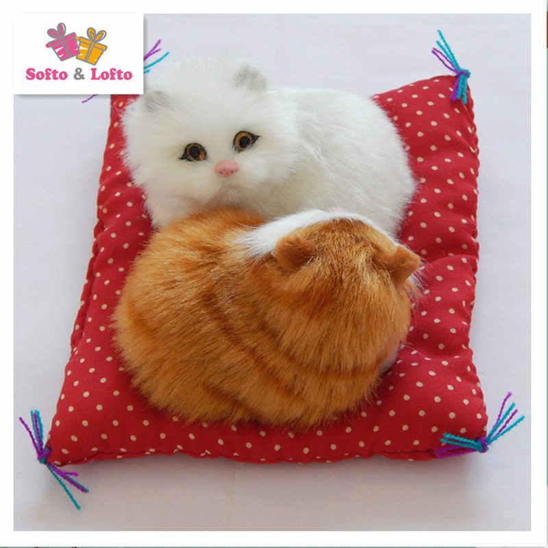Gratis pengiriman lucu! buatan bayi kucing beberapa, kat anak kucing pus kucing mewah, boneka dekorasi meja ulang tahun hadiah mainan anak perempuan