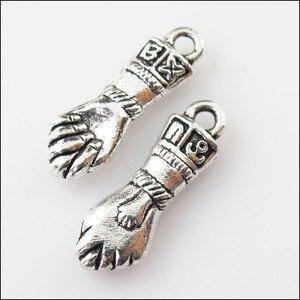 10 pçs antiguidade prata cor 3d punho mão encantos pingentes 7.5x22.5mm