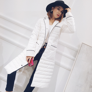 Contrast color notched collar fashion white duck down jackets women down coats outerwear 2018 autumn winter