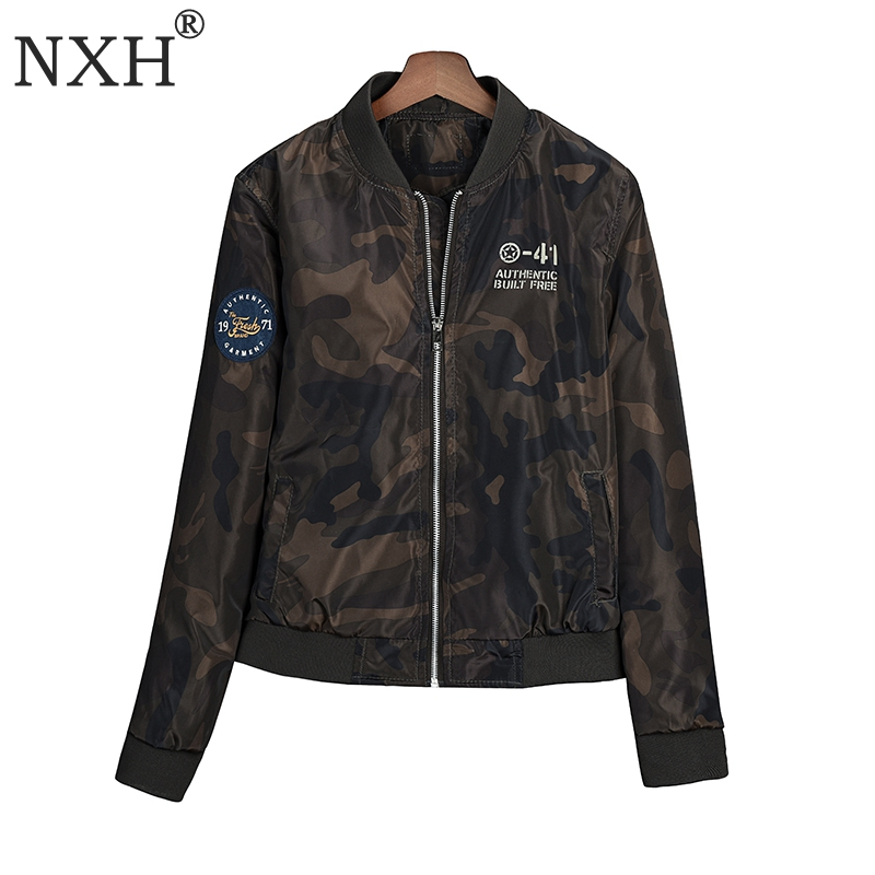 NXH New Fashion 2018 WOmens Outwear Street air force Camouflage   jacket   Ladies   Basic     jacket   Winter autumn Long style Zipper coat