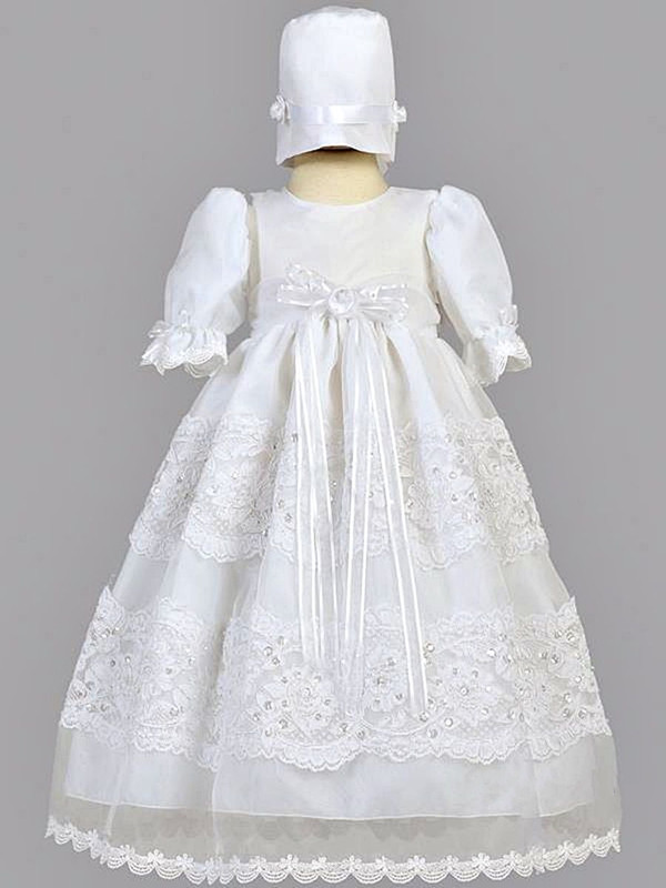 2016 Baby Girl Handmade Christening Gowns Baptism Lace Todder White/Ivory First Communion Dresses 0-24month WITH BONNET