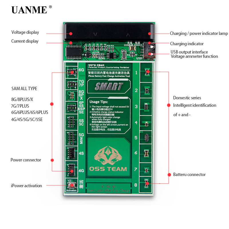 US $13 4 10% OFF|UANME 2 in 1 SmartPhone Battery Fast Charging and  Activation Board For iPhone 7 7Plus 6 6s 5 5s 4 4s Mobile Phone Repair  Tool-in Hand