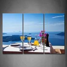 3 Piece Wall Art Painting Goblets Plates Knife Vase On The Table Picture Print On Canvas Seascape 4 The Picture
