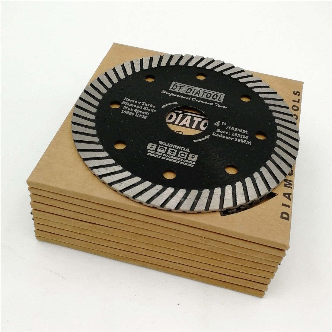 DT-DIATOOL 10pcs Dry Or Wet Professional Narrow Turbo Diamond Saw Blade Cutting Disc For Stone Granite Masonry Block Concrete