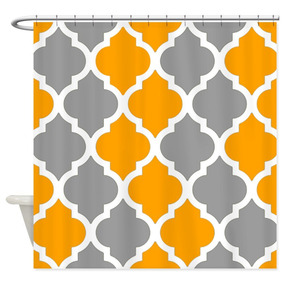 Gray and orange quatrefoil pattern Shower Curtain - Decorative Fabric Shower Curtain (69x70)