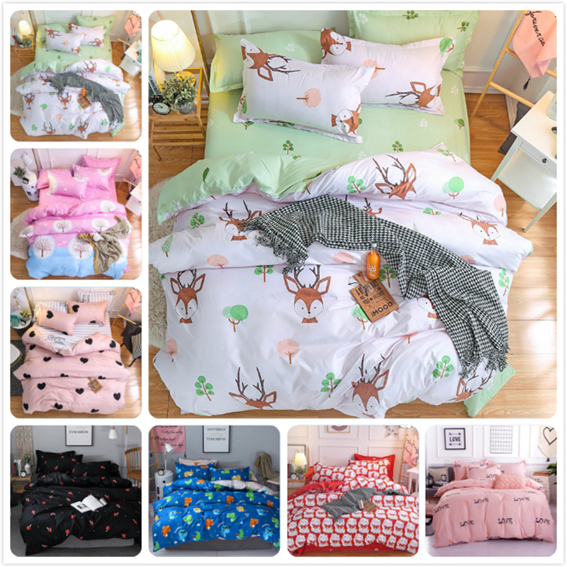 Single Twin Full Queen King Size 3pcs/4pcs Bedding Set Soft Cotton Bed Linens 150x200 180x220 200x230 Duvet Cover Bedclothes Kid