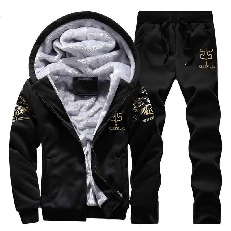 Спортивный костюм, мужской спортивный флисовый плотный брендовый костюм с капюшоном, повседневный спортивный костюм, мужская куртка + штаны, теплая зимняя толстовка с мехом внутри