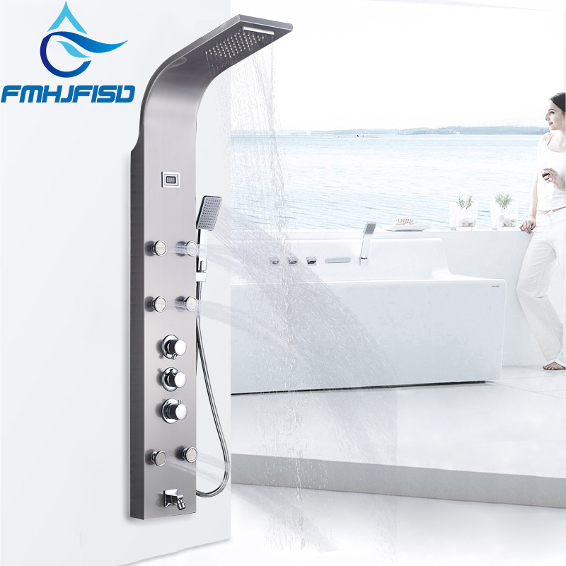 Thermostatic Bathroom Shower Panel Rainfall Waterfall Tower Shower Column with Digital Display